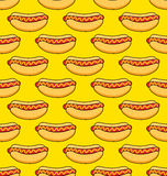 Hot dogs on yellow background Stock Photo