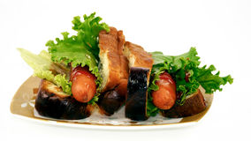 Hot dogs. Yummy hot dogs are on the table Royalty Free Stock Photography