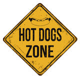 Hot dogs zone vintage rusty metal sign Royalty Free Stock Photo