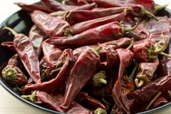 Hot dried red chillies peppers royalty free stock photo