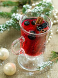 Hot drink. Hot fruit drink with cinnamon stick. Selective focus stock image