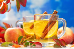 Hot drink with apple juice, lemon and cinnamon in autumn Stock Images
