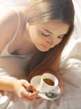 Hot Drink in Bed Stock Photography