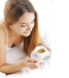 Hot Drink in Bed Royalty Free Stock Photo
