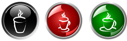 Hot drink button Royalty Free Stock Images