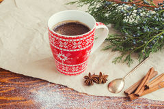 Hot Drink. Christmas coffee with cinnamon and anise Royalty Free Stock Photos