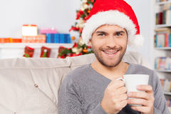 Hot drink on Christmas Eve. Royalty Free Stock Images