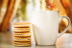 Hot drink and cookies with a stuffing Stock Image