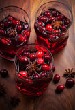 Hot drink with cranberries for Christmas Royalty Free Stock Image