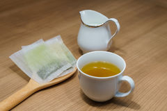 hot drink green tea in cup Stock Image