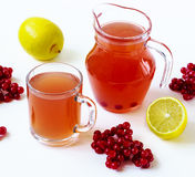 Hot drink with a guelder-rose and a lemon Stock Images
