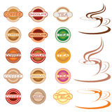 Hot drink labels and icons Stock Image