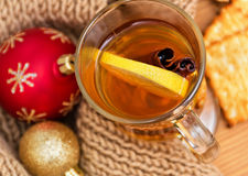 Hot drink with a lemon and cinnamon Royalty Free Stock Photo