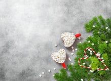 Hot drink marshmallow Christmas decoration food flat lay. Hot drink with marshmallow and Christmas decoration. Holidays food flat lay stock photos