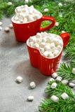 Hot drink marshmallow Christmas decoration Holidays food. Hot drink with marshmallow and Christmas decoration. Holidays food royalty free stock images