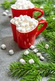 Hot drink marshmallow red Christmas decoration. Hot drink with marshmallow and red Christmas decoration stock photo