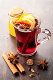 Hot drink mulled wine with honey and spices Royalty Free Stock Photo