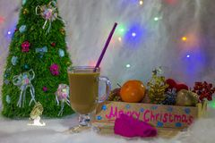 Hot drink of new year coffee. New year and Christmas. Family holiday and fun. Christmas decor stock images