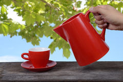 Hot drink serve. Royalty Free Stock Image