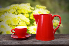 Hot drink in spring time. Stock Photos