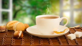 Hot drink with steam Royalty Free Stock Images