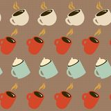 Hot drink. Tea / coffee cups. Seamless background. Cafeteria. Co. Seamless coffee pattern. Many different cups with drinks. Hot coffee. Vector illustration. Eps Stock Photography