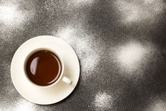 A hot drink in a white mug Stock Image
