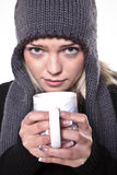 Hot Drink For Winter Cold. Cute Blond Girl Holding A Hot Drink In The Winter Cold Stock Images