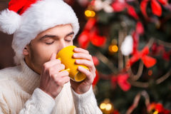 Hot drink at winter night. Royalty Free Stock Images