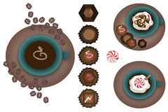 Hot Drinks. Coffee, Turtle Mocha, and Peppermint drinks with candy, chocolate, and coffee beans.  Drawn in Illustrator CS2 Royalty Free Stock Image