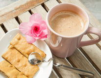 Hot drinks and biscuits Stock Photo