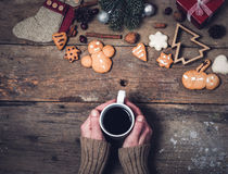 Hot drinks and Christmas decorations Stock Images