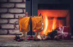 Hot drinks and Christmas decorations Stock Photo
