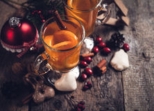 Hot drinks and Christmas decorations Royalty Free Stock Images