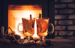 Hot drinks and Christmas decorations Stock Photos
