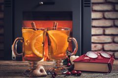 Hot drinks and Christmas decorations Royalty Free Stock Image