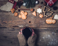 Hot drinks and Christmas decorations Royalty Free Stock Photography