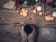Hot drinks and Christmas decorations Stock Image