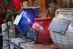 Hot drinks on christmas fair Royalty Free Stock Image