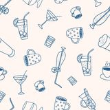 Hot drinks and cocktails seamless pattern Stock Image