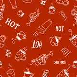 Hot drinks and cocktails seamless pattern Stock Photography