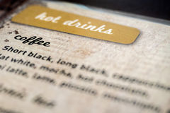 Hot drinks menu listing for types of coffee Stock Photos