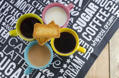Hot drinks with rusk biscuits Stock Images