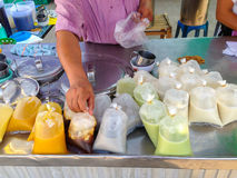 Hot drinks stall. A hot drinks stall at local market with soybean milk  and other drinks Stock Images