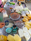 Hot drinks stall. A hot drinks stall at local market with soybean milk  and other drinks Stock Photography