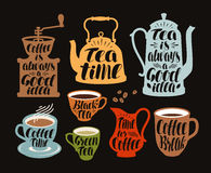 Hot drinks, tea, coffee label set. Collection decorative elements for menu restaurant or cafe. Lettering, calligraphy. Hot drinks, tea, coffee label set Stock Image