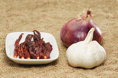 Hot dry Chili, Onion and Garlic Royalty Free Stock Photography