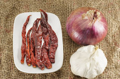 Hot dry Chili, Onion and Garlic Royalty Free Stock Photo