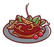 Hot duck a l`orange with oregano leaves on plate. Hot duck a l`orange with oregano leaves, tasty sauce and cherry tomatoes on plate  vector illustration on white Royalty Free Stock Images