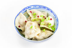 Hot dumplings with green onion Stock Photo